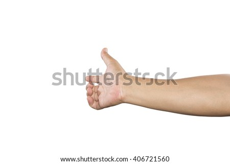 Hand of man to hold card, mobile phone, tablet PC or other isolated on white background - stock photo