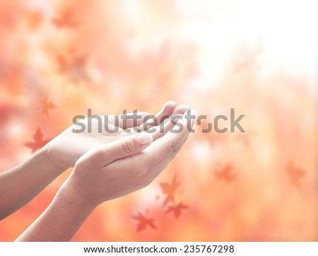 Hand of man with hands raised to beautiful autumn sunset background. Thanksgiving, Christmas, Forgiveness, Mercy, Humble, Repentance, Reconcile, Glorify concept. - stock photo