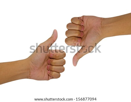 Hand of man with thumb up and down isolated on white background. - stock photo