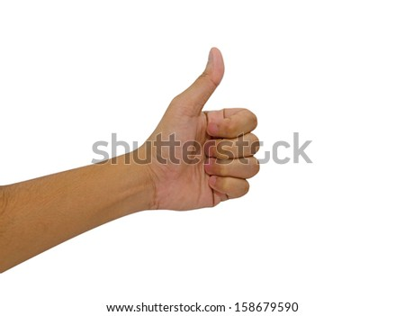 Hand of man with thumb up isolated on white background.