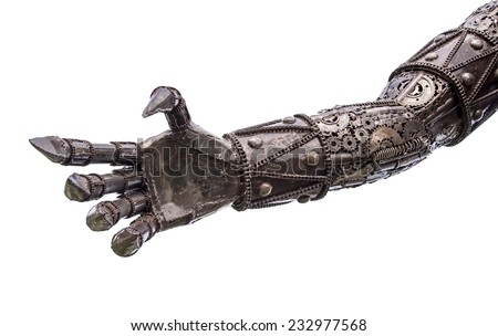 Hand of Metallic cyber or robot made from Mechanical ratchets bolts and nuts. - stock photo