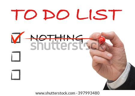 Hand of office worker ticking off to do list on white board - stock photo