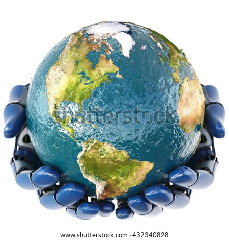 Hand of robot holding the Earth. isolated on white background. Earth map furnished by NASA. 3D illustration. - stock photo
