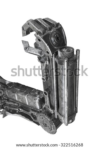 Hand of Robot sculpture made from scrap metal isolated on white background