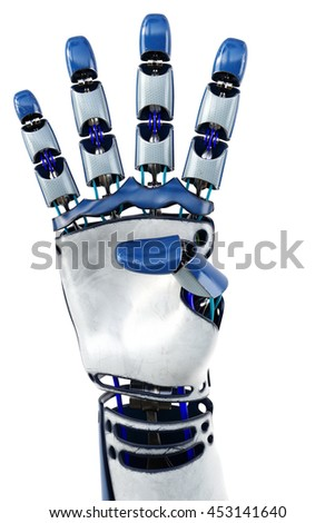 Hand of robot showing numbers. Isolated on white background. 3D illustration. - stock photo