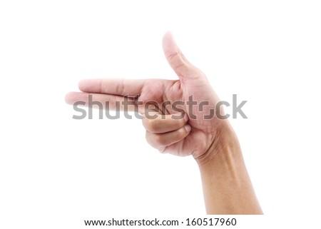 hand of show gun  isolated  - stock photo