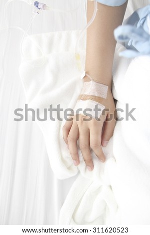 Hand of The Patient in the Hospital