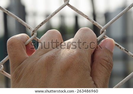 hand of the prisoner who need freedom - stock photo