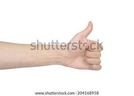 hand of thumb sign, isolated on white