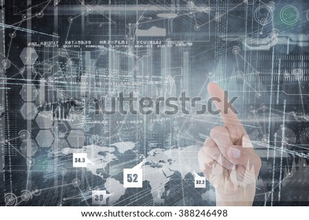Hand of woman pointing up against hologram background