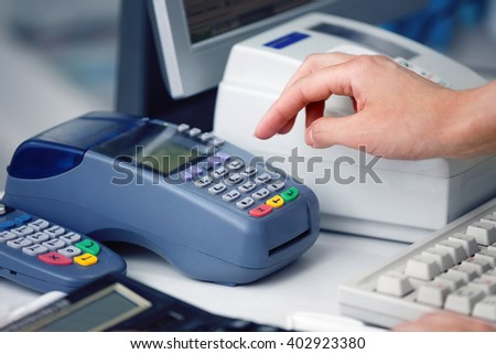 Hand of Woman Using Payment Terminal in an Shop, Paying With Credit Card, Credit Card Reader, Finance Concept