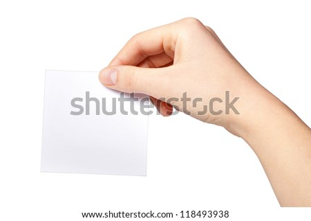 Hand of women holding blank paper label,  isolated on white
