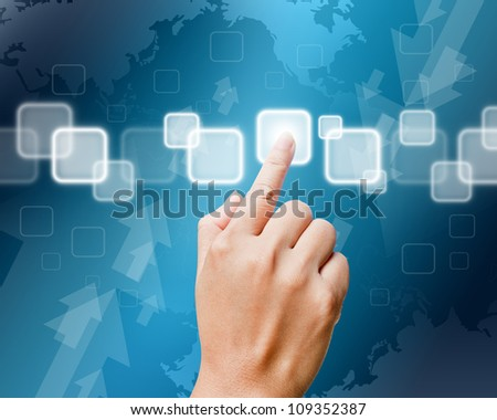 Hand of women pushing button on touch screen