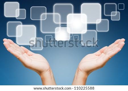 Hand of women pushing button on touch screen - stock photo