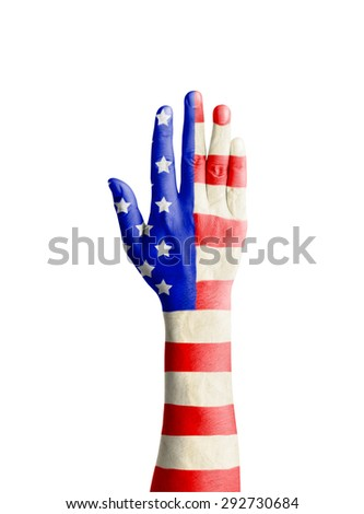 Hand of young man raised with United States of America flag patterned - Independence Day, isolate on white with clipping path