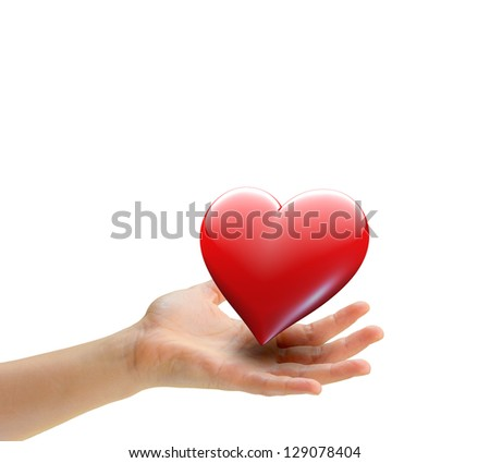 Hand offering love heart symbol - isolated on white - stock photo