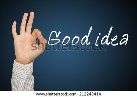 "hand OK concept ""good idea "" - stock photo"