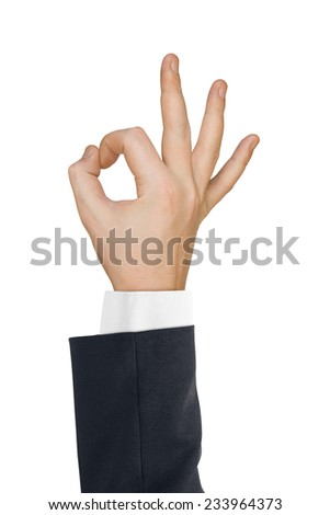 Hand ok isolated on white background
