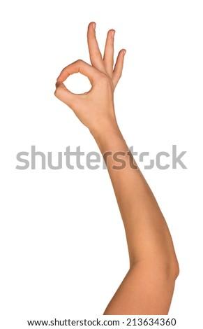 Hand OK sign - stock photo