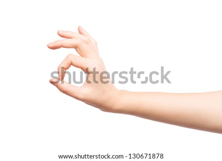 Hand OK sign. Isolated on white background