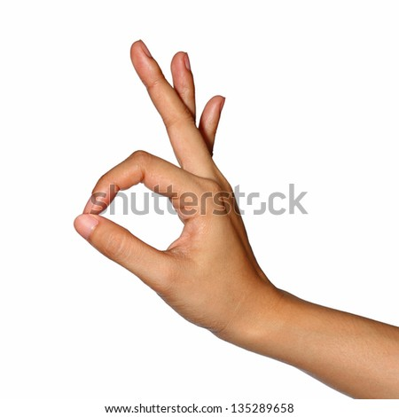 Hand OK sign (with clipping path) - stock photo
