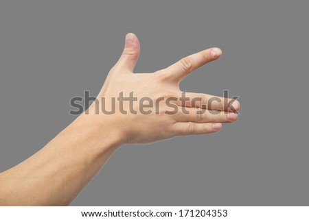 hand on a gray background