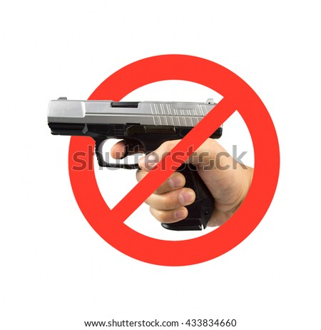 hand on a no guns sign isolated in white background - stock photo