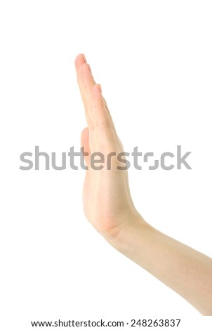 hand  on a white background
