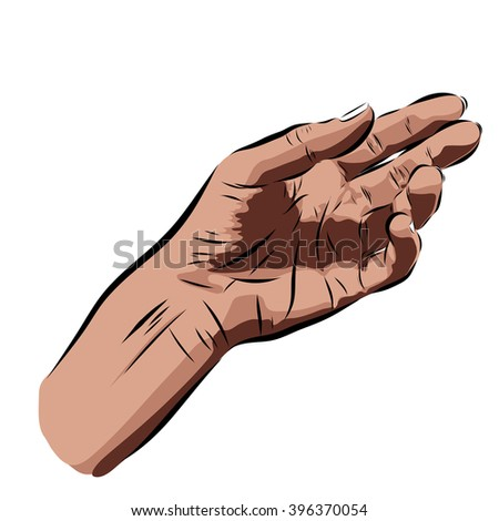 hand on a white background.