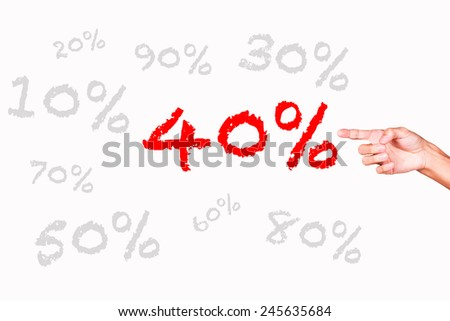 Hand on a white background pointing discount digital
