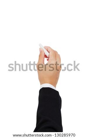 Hand on chalkboard - stock photo
