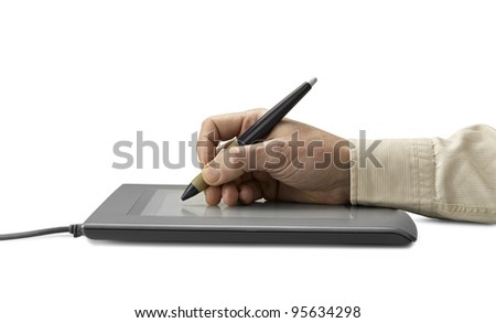 hand on graphic tablet.. Isolated on white (clipping path) - stock photo