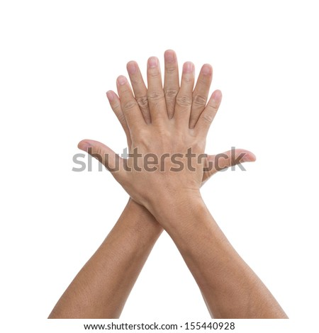 Hand on hand isolated on white background, clipping path - stock photo
