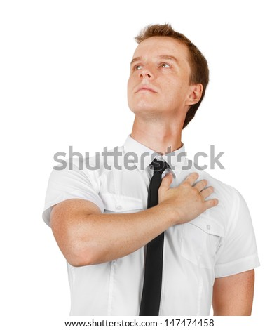 hand on heart - stock photo