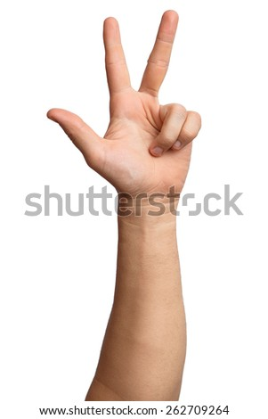Hand on Isolated white background. Alpha. Three fingers. 3 - stock photo