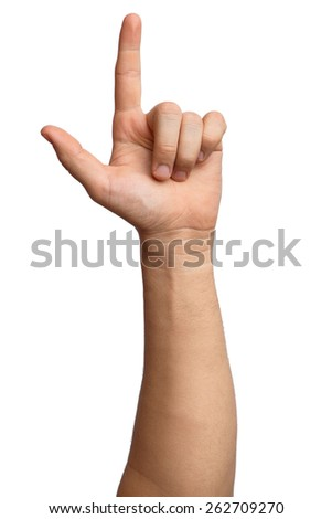 Hand on Isolated white background. Alpha. Victory. Two fingers 2. Loser. - stock photo