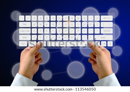 Hand on Keyboard with human icon button and social network background