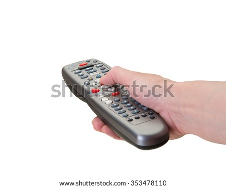 Hand on remote control buttons to blank screen - stock photo