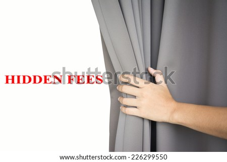 hand open the blinds Write HIDDEN FEES  - stock photo