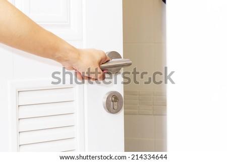 hand open the Door - stock photo