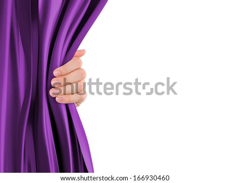 Hand opening purple curtain with copy space, isolated on white background. - stock photo