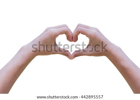 Hand opens heart shaped Isolated on white background.clipping path.