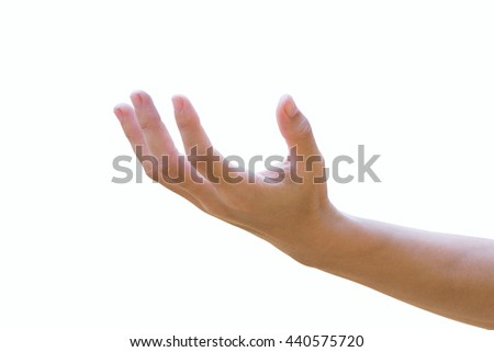 Hand opens Isolated on white background.clipping path - stock photo