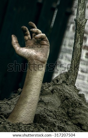 hand out of the ground texture background Halloween - stock photo