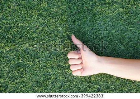 hand over a green grass,in the form of best