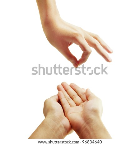 hand over white background - stock photo