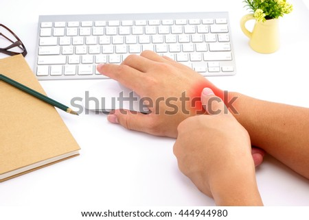 Hand pain with red alert accent - stock photo