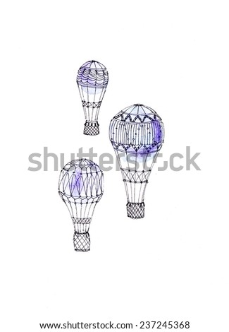 Hand paint balloon with white background. (Can be used as texture for cards, invitations, web sites or for any other design). Party and wedding decor elements. Background with vintage hot air balloon. - stock photo