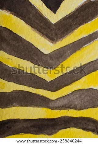 Hand paint watercolor animal striped pattern. (Can be used as texture for cards, invitations, DIY projects, web sites or for any other design)  - stock photo