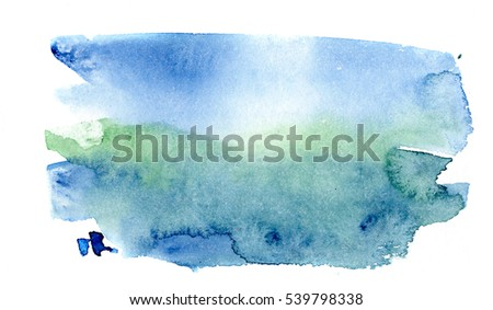 hand painted abstract brushstroke watercolor blot in blue, green and indigo colors color, isolated on white, perfect background for trendy design